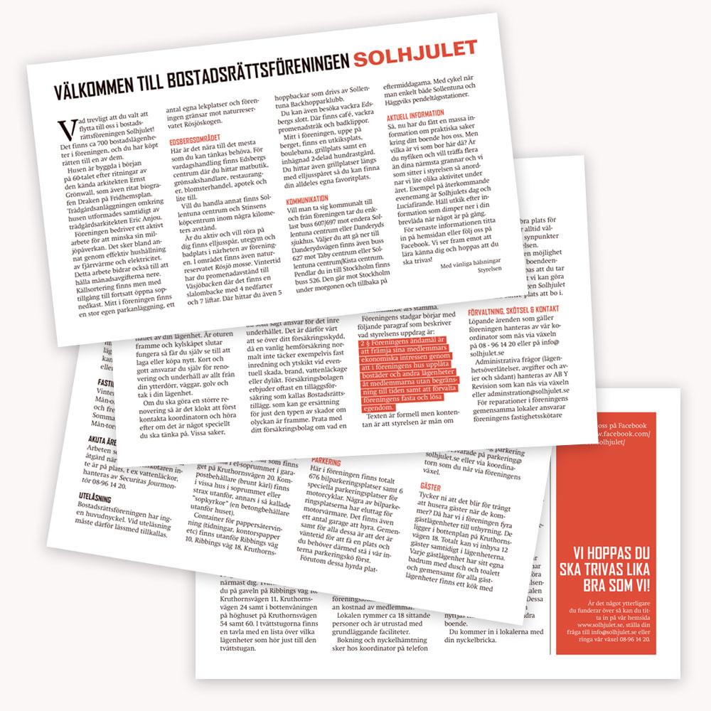 Leaflet for Solhjulet BRF