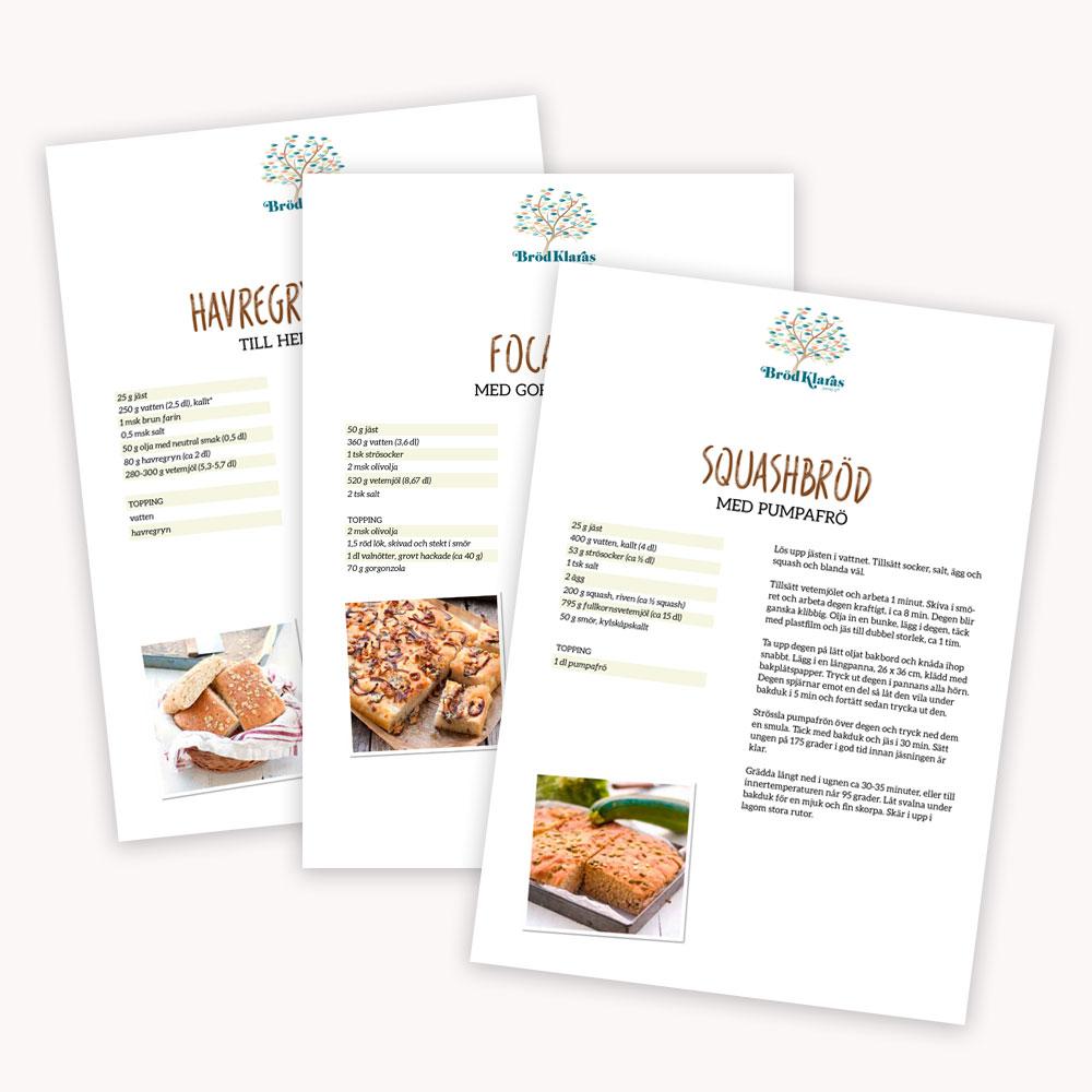 Recipe sheets