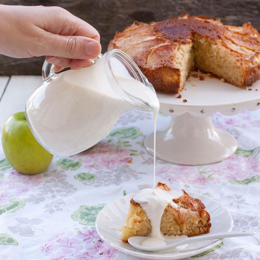 Apple cake with home made custard